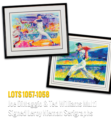 Joe DiMaggio and Ted Williams Multi Signed Leroy Nieman Serigraphs