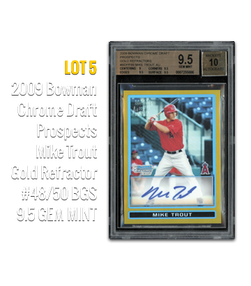 2009 Bowman Chrome Draft Prospects Mike Trout Gold Refractor #48/50 BGS 9.5 GEM MINT