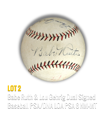 Babe Ruth & Lou Gehrig Dual Signed Baseball