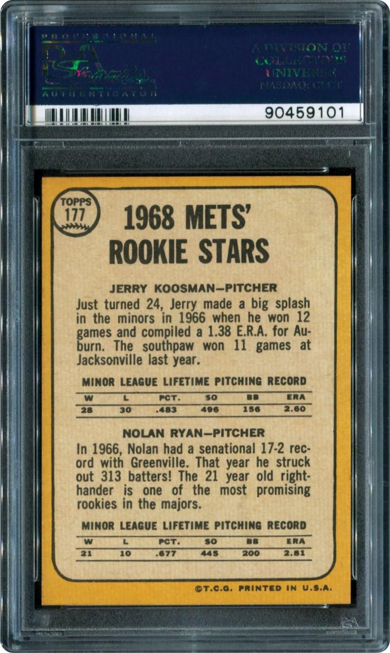 Lot 34 1968 Topps 177 Nolan Ryan Rookie Card Psa