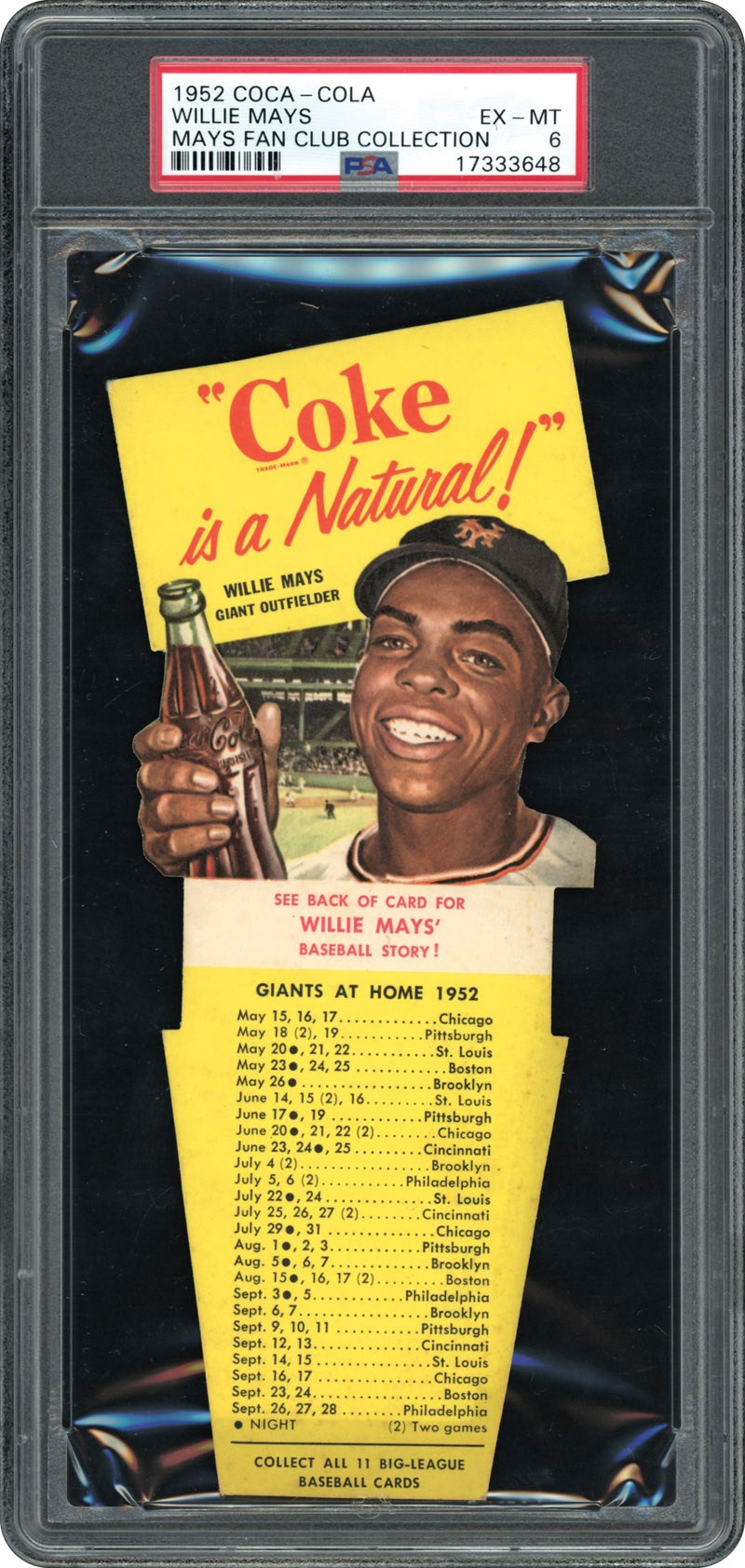 Willie Mays 1952 Coca Cola Playing Tips Test Card Psa Exmt