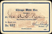 1919 Chicago White Sox Celluloid Season Pass