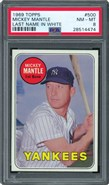 1969 Topps #500 Mickey Mantle White Letter PSA 81969 Topps #500 Mickey Mantle White Letter PSA 8