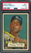 1952 Topps Mickey Mantle Rookie PSA 2.5 Good+