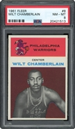 1961 Fleer Wilt Chamberlain Rookie PSA 8 NM-MT